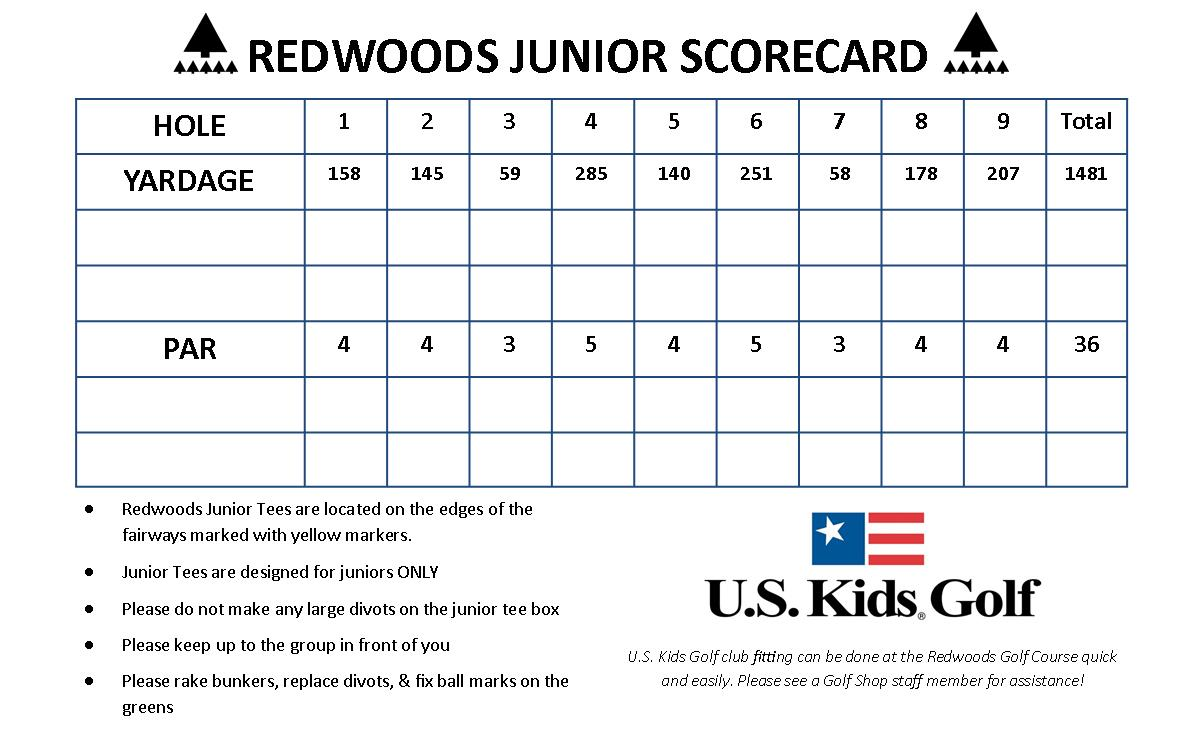 Junior Scorecard 2 - Redwoods golf course