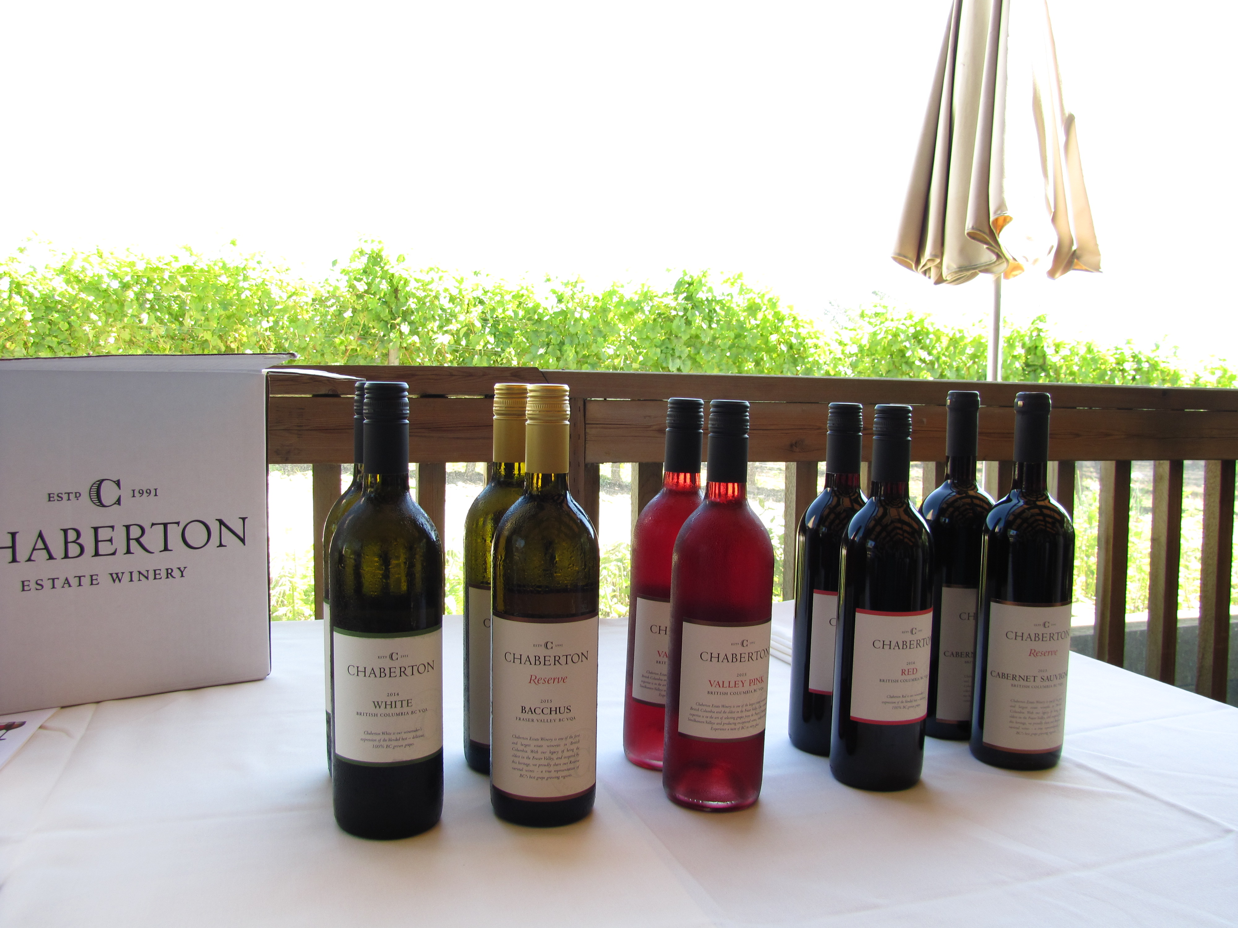 Haberton wine displayed on table